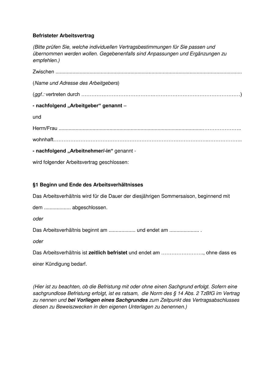 arbeitsvertrag vorlage - Anderung Arbeitsvertrag Muster