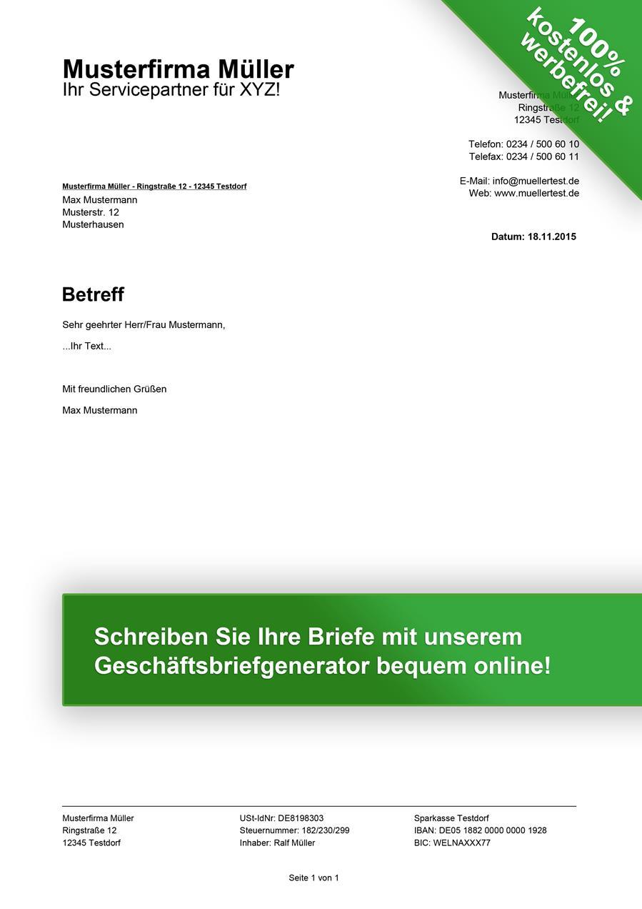 Kostenlose Geschäftsbrief Vorlagen Downloaden