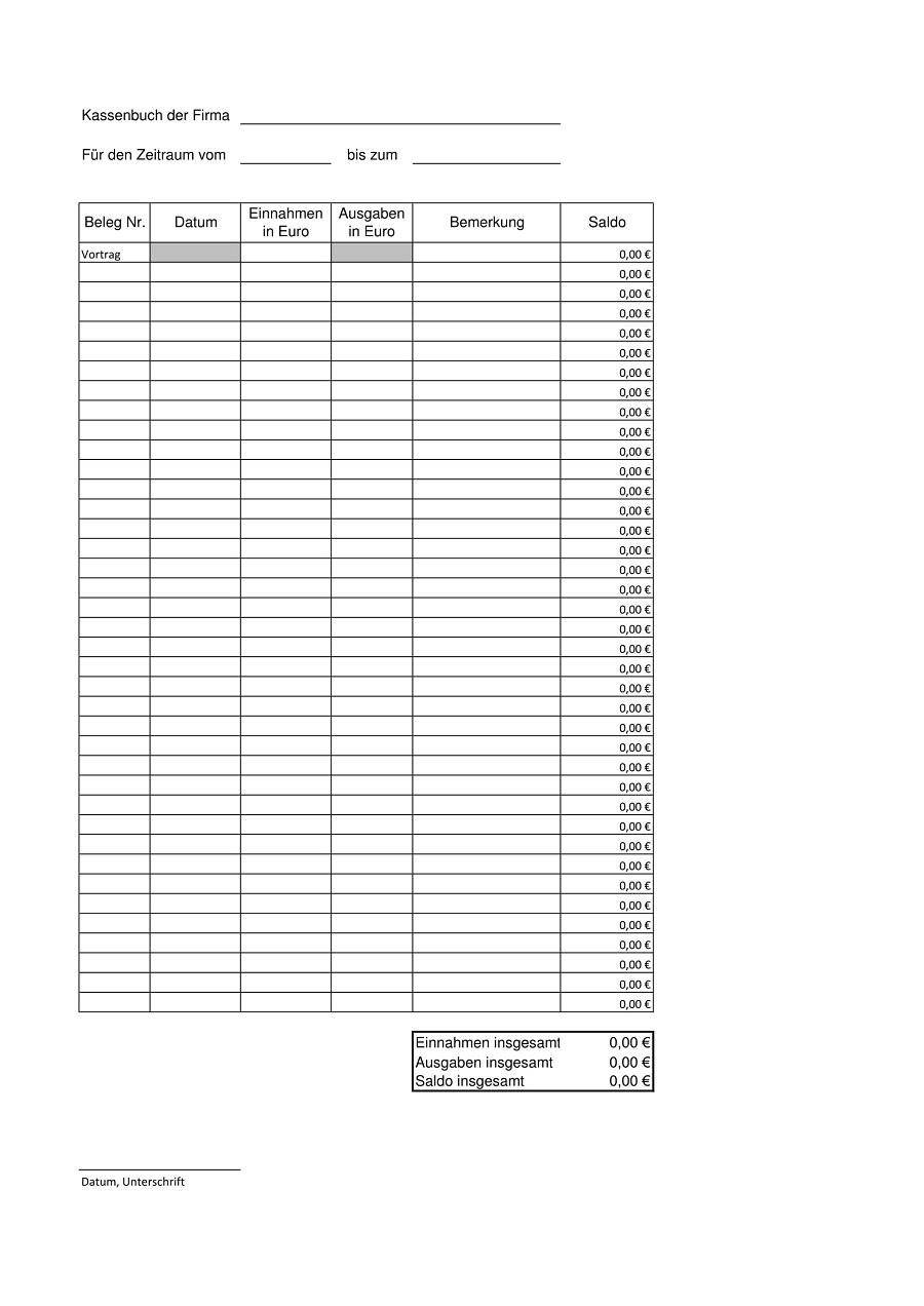 Excel Kassenbuch Vorlage Kostenlos Herunterladen