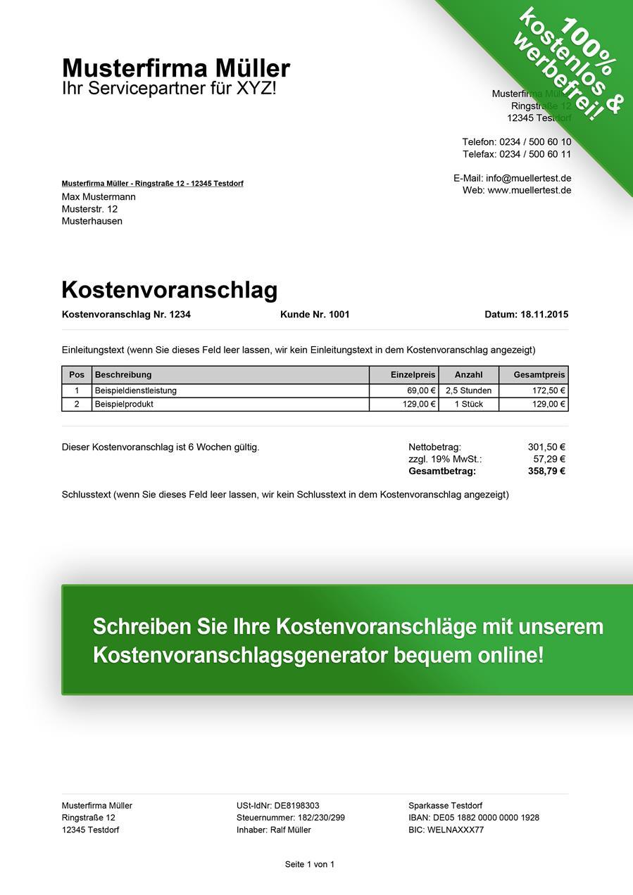 Kostenvoranschlag Muster Kostenlos Downloaden