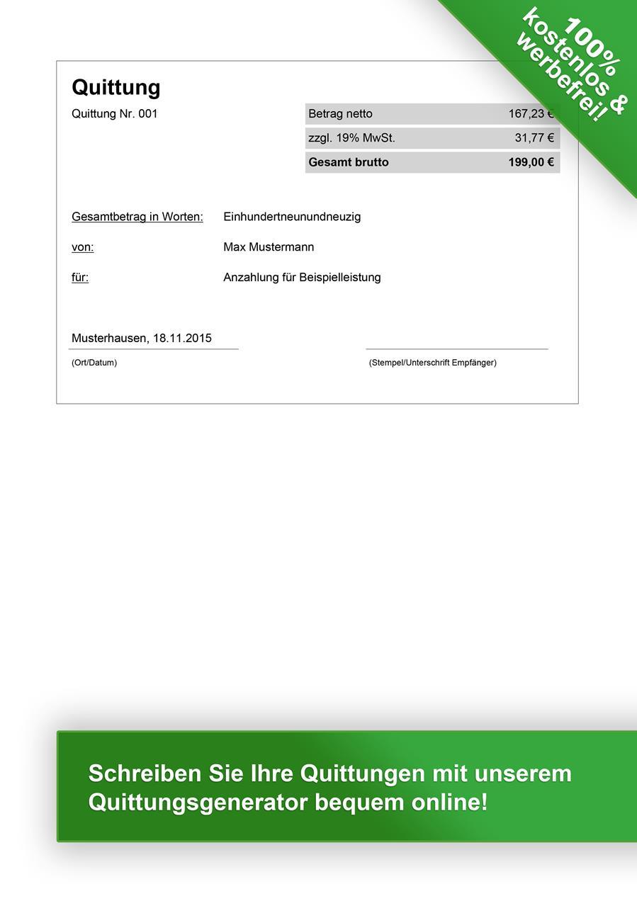 Quittungsvorlage kostenlos herunterladen - Vorlage Quittung